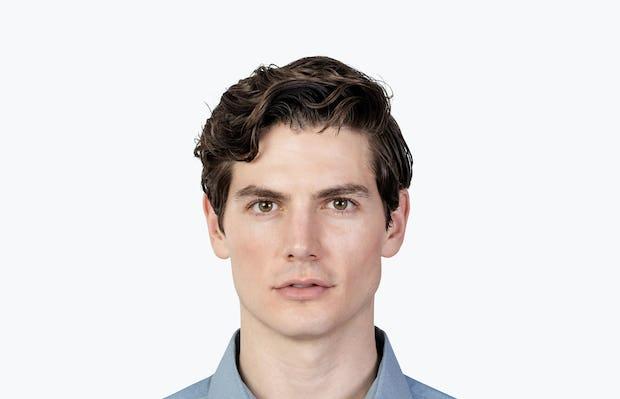 Men's Sky Blue Oxford Brushed Apollo Dress Shirt headshot of model facing forward