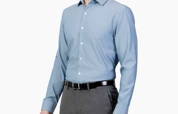 Men's Apollo Dress Shirt - Sky Blue Oxford Brushed - Image 1 2