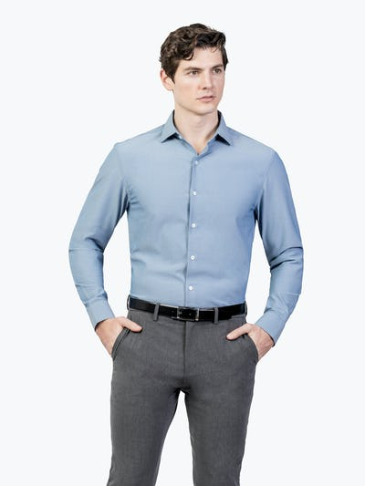 Men's Apollo Dress Shirt - Sky Blue Oxford Brushed - Image4