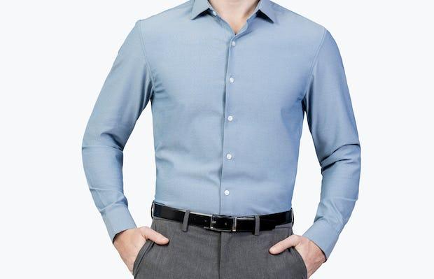 Men's Apollo Dress Shirt - Sky Blue Oxford Brushed - Image4