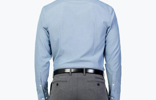 Men's Sky Blue Oxford Brushed Apollo Dress Shirt model facing backward