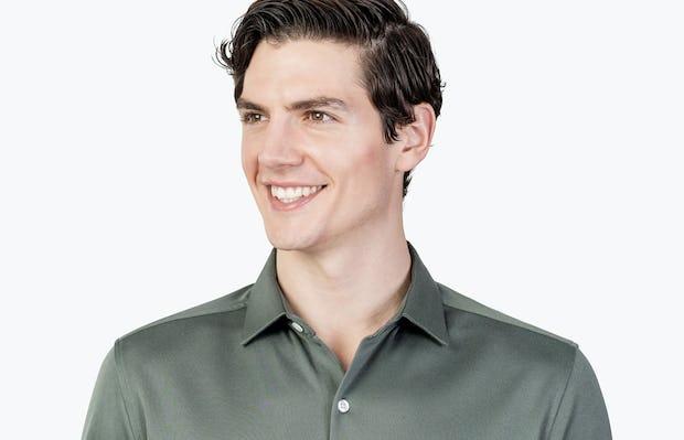 Men's Olive Heather Brushed Apollo Dress Shirt headshot of model facing forward