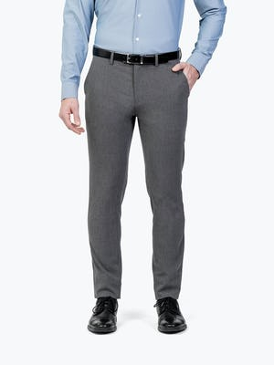 Men's Charcoal Velocity Dress Pants on Model Facing Forward with Hand in Pocket