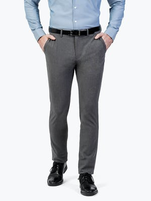 Men's Charcoal Velocity Dress Pants on Model Walking Forward