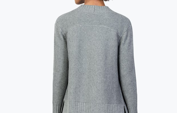 Women's Light Grey Composite Merino Cardigan on Model Facing Backward