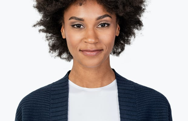 Women's Navy Composite Merino Cardigan on Model in Close-up of Front Collar
