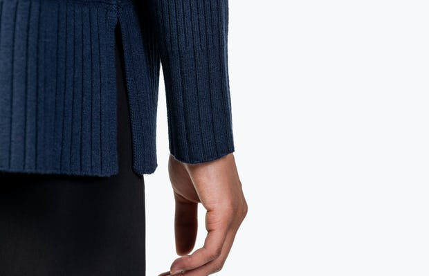 Women's Navy Composite Merino Cardigan on Model in Close-up of Sleeve Cuff