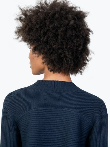 Women's Navy Composite Merino Cardigan on Model in Close-up of Back Collar