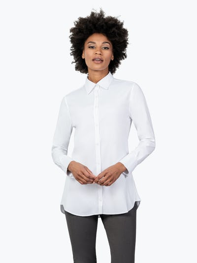 Women's White Aero Tunic on Model Facing Forward