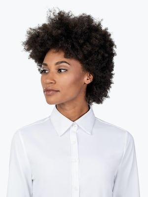 Women's White Aero Tunic on Model in Close-up of Her Shirt Collar