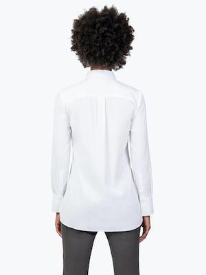 Women's White Aero Tunic on Model Facing Backwards
