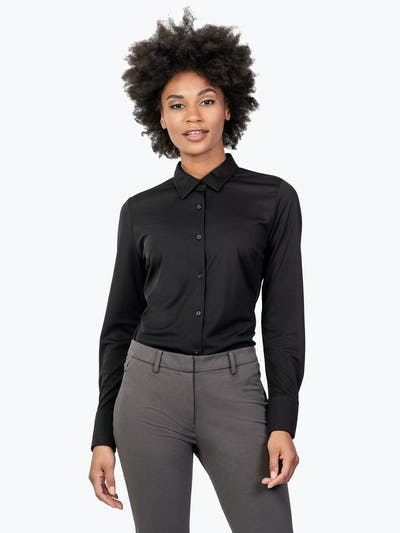 Women's Black Apollo Tailored Shirt on Model Facing Forward