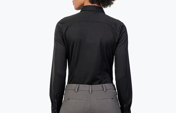 Women's Black Apollo Tailored Shirt on Model Facing Backward