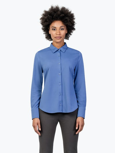 Women's Ocean Blue Apollo Dress Shirt on Model Facing Forward