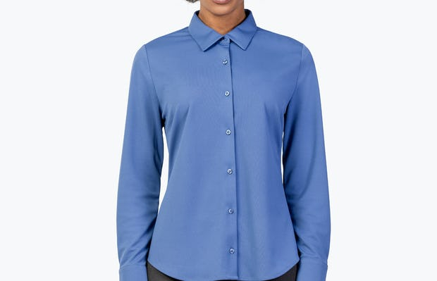 Women's Ocean Blue Apollo Tailored Shirt on Model with Hand by Her Side