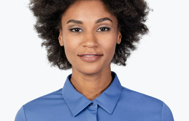 Women's Ocean Blue Apollo Tailored Shirt on Model in Close-up of the Front of Her Shirt Collar