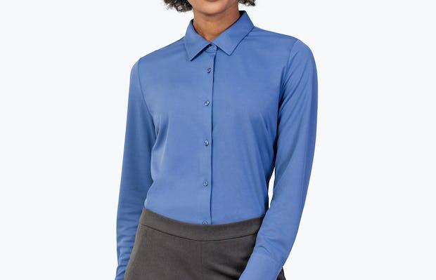 Women's Ocean Blue Apollo Tailored Shirt on Model Facing Forward