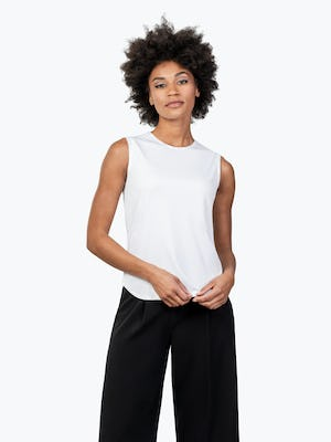 Women's White Luxe Touch Tank on Model Facing Forward