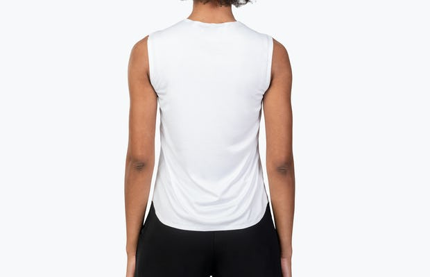 Women's White Luxe Touch Tank on Model Facing Backward