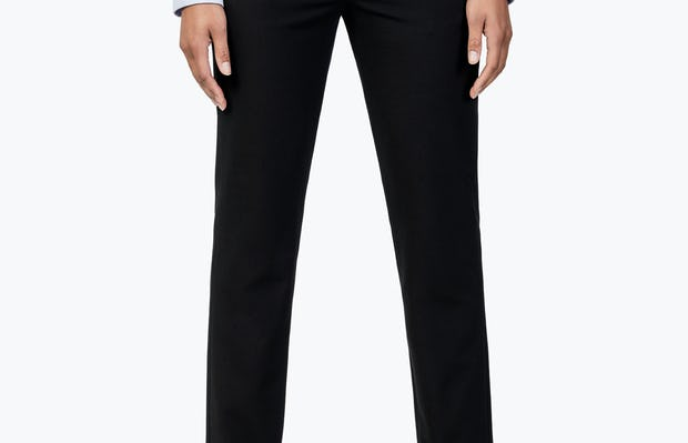 Women's Black Velocity Dress Pant on Model Facing Forward