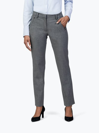 Women's Light Grey Velocity Dress Pant on Model with Left Hand in Her Pocket