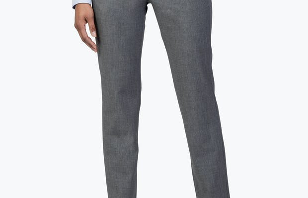Women's Light Grey Velocity Dress Pant on with Left Hand in Her Pocket