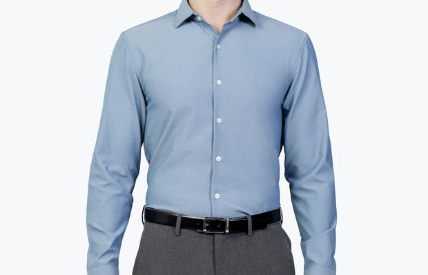 Men's Blue Oxford Aero Zero Dress shirt model facing forward