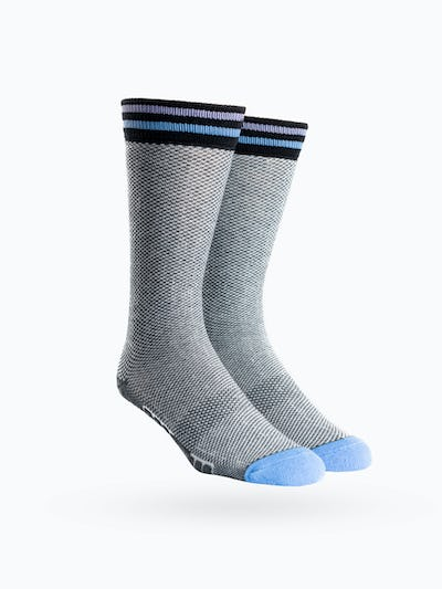 Blue Tip Houndstooth Atlas Dress Socks