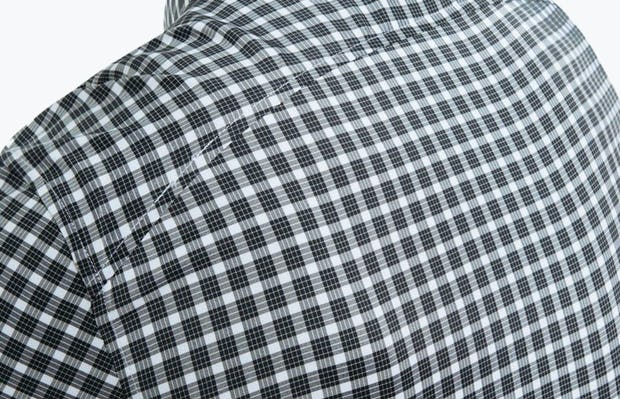 Men's Black Multi Check Aero Button Down on Model Facing Backward in Close-Up of Curved Back Yolk