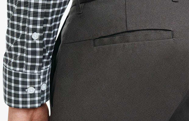 Men's Black Multi Check Aero Button Down on Model Facing Backward in Close-Up of Sleeve Cuffs and Buttons