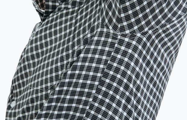 Men's Black Multi Check Aero Button Down on Model in Close-Up of Underarm Ventilation