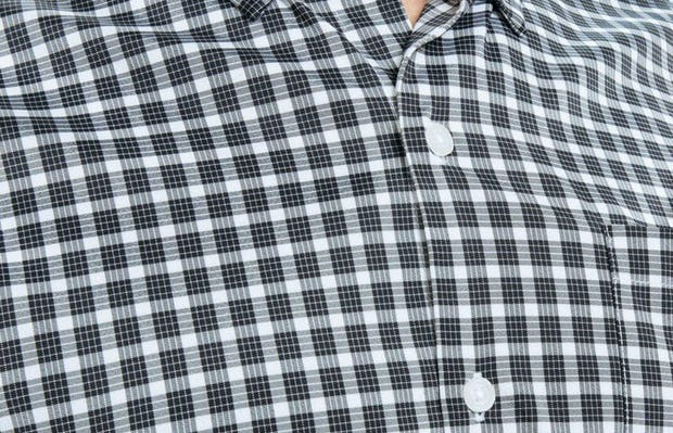 Men's Black Multi Check Aero Button Down on Model in Close-Up of Button Down Collar