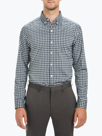 Men's Black Multi Check Aero Button Down on Model Facing Forward