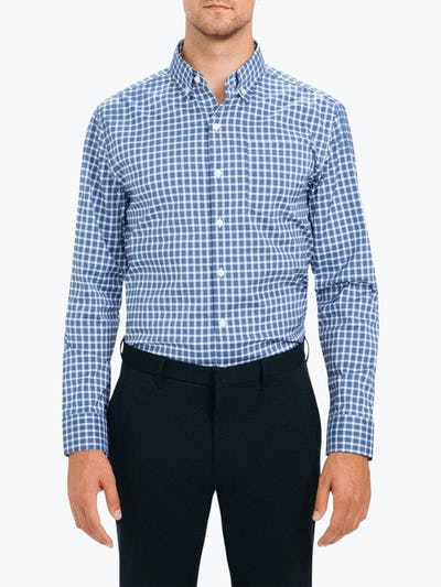 Men's Blue Multi Check Aero Button Down on Model Facing Forward
