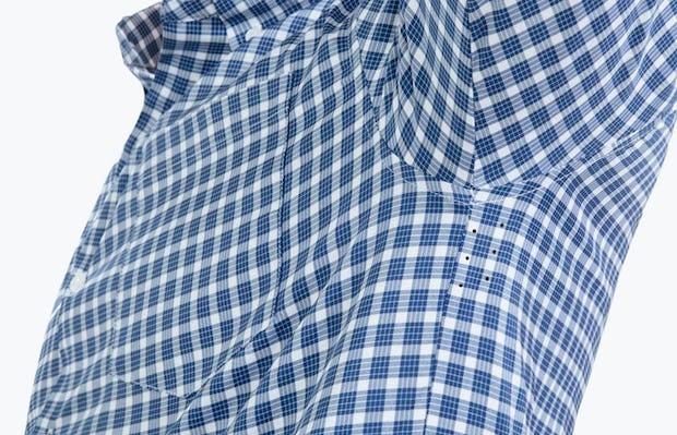 Men's Blue Multi Check Aero Button Down on Model Facing Right in Close-Up of Underarm Ventilation