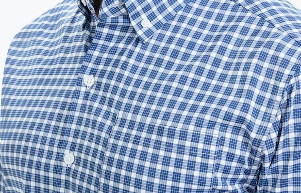 Men's Blue Multi Check Aero Button Down on Model Facing Right in Close-Up of Button Down Collar