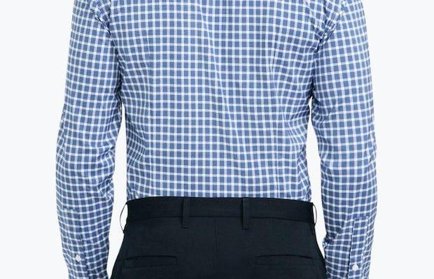 Men's Blue Multi Check Aero Button Down on Model Facing Backward