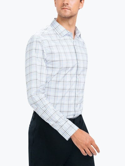 Men's Blue Multiplaid Aero Dress Shirt on Model Walking Left