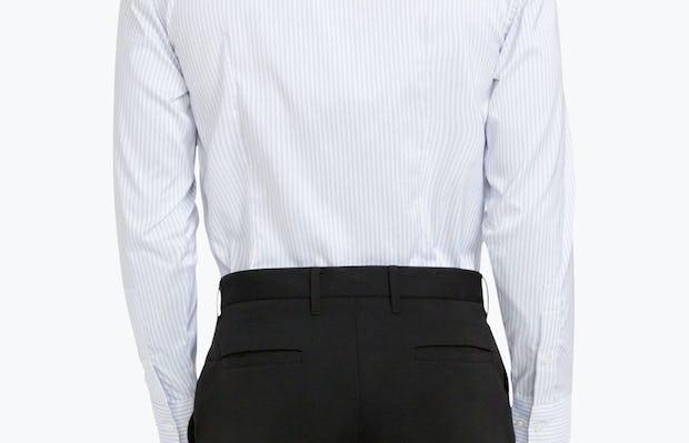 Men's Cool Grey Dot Stripe Aero Dress Shirt on Model Facing Backward