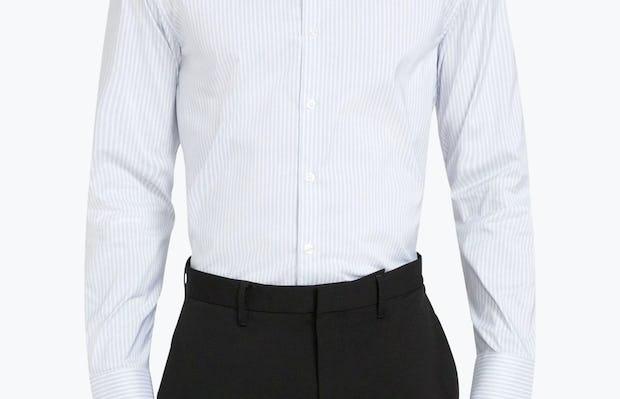 Men's Cool Grey Dot Stripe Aero Dress Shirt on Model Facing Forward