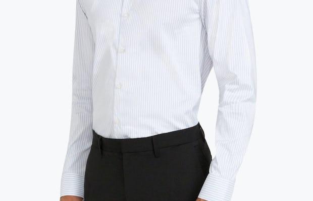 Men's Cool Grey Dot Stripe Aero Dress Shirt on Model Facing Right