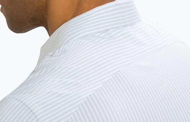 Men's Cool Grey Dot Stripe Aero Dress Shirt on Model Facing Backward in Close-Up of Curved Back Yoke