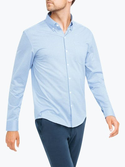 Men's Light Blue Gingham Hybrid Button Down on Model Walking Left