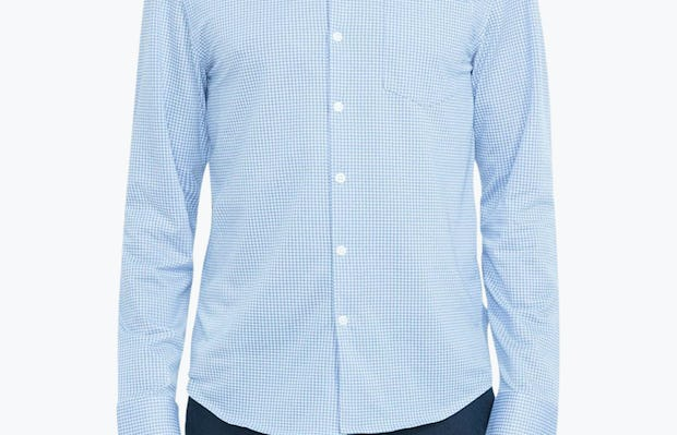 Men's Light Blue Gingham Hybrid Button Down on Model Facing Forward