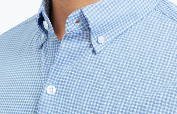 Men's Light Blue Gingham Hybrid Button Down on Model in Close-Up of Button-Down Collar