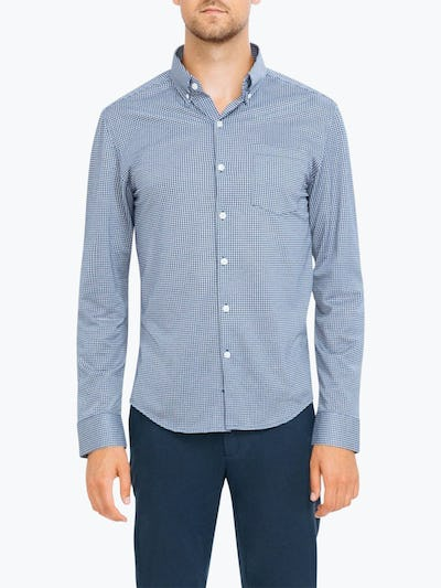Men's Navy Gingham Hybrid Button Down on Model Facing Forward