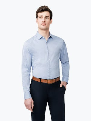 Men's Aero Dress Shirt - Blue on Blue Grid model with hand in pocket