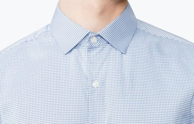 Men's Aero Dress Shirt - Blue on Blue Grid close shot of collar fully buttoned