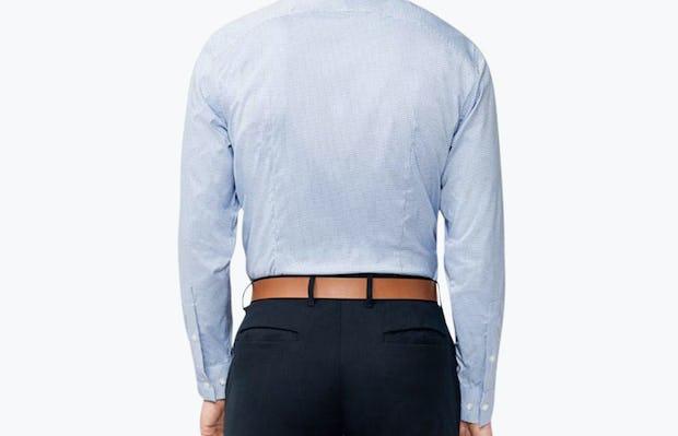 Men's Aero Dress Shirt - Blue on Blue Grid model facing away