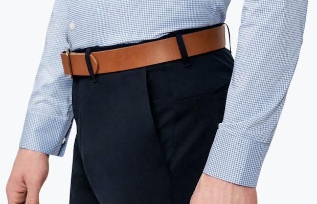 Men's Aero Dress Shirt - Blue on Blue Grid close shot of cuffs